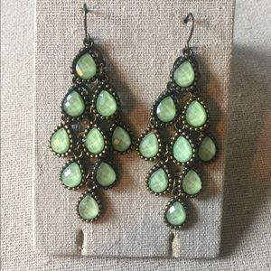 Chandelier earrings with gorgeous green gemstones